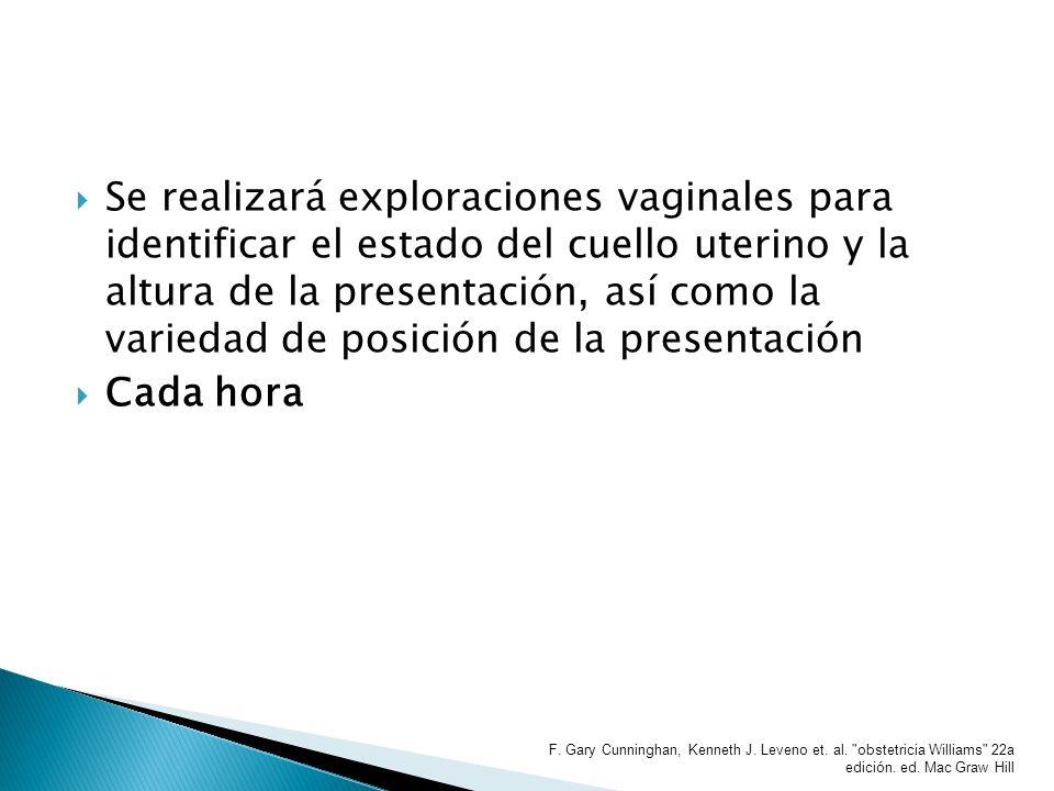 Se realizará exploraciones vaginales para identificar el estado del cuello uterino y la altura de la presentación, así como la variedad de posición de