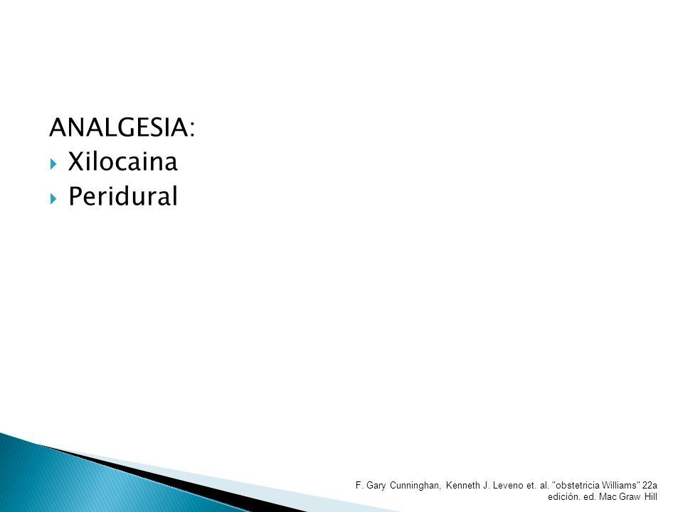 ANALGESIA: Xilocaina Peridural F. Gary Cunninghan, Kenneth J. Leveno et. al.