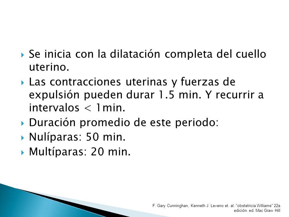 Se inicia con la dilatación completa del cuello uterino. Las contracciones uterinas y fuerzas de expulsión pueden durar 1.5 min. Y recurrir a interval