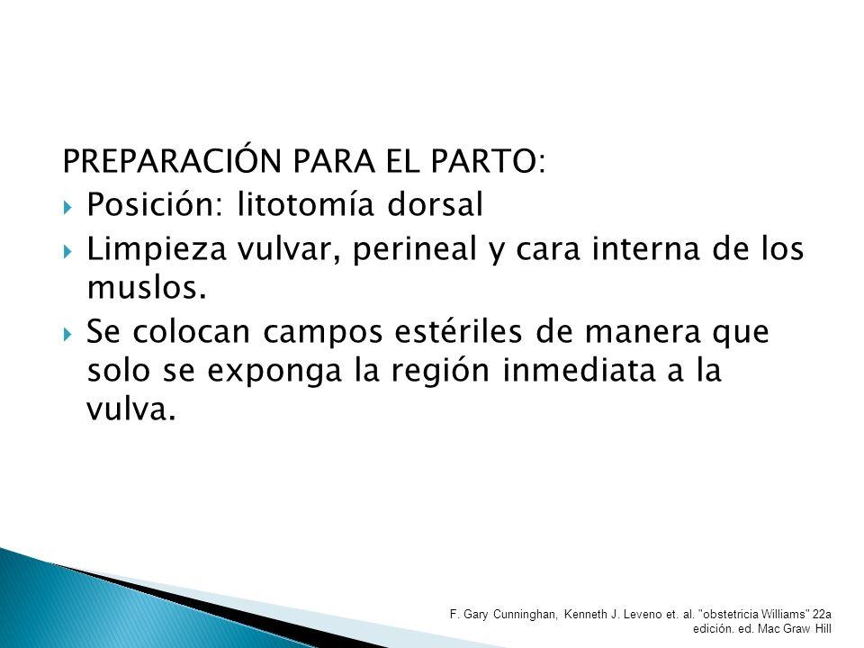 PREPARACIÓN PARA EL PARTO: Posición: litotomía dorsal Limpieza vulvar, perineal y cara interna de los muslos. Se colocan campos estériles de manera qu