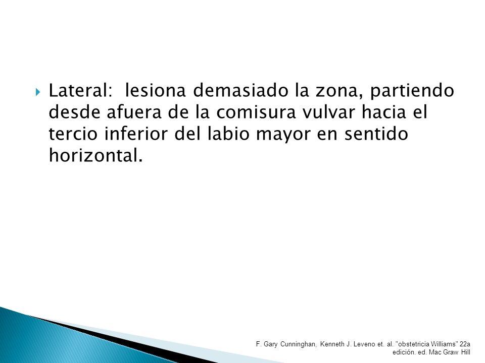 Lateral: lesiona demasiado la zona, partiendo desde afuera de la comisura vulvar hacia el tercio inferior del labio mayor en sentido horizontal. F. Ga