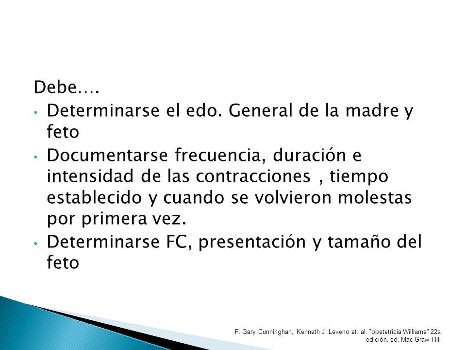 Debe…. Determinarse el edo. General de la madre y feto Documentarse frecuencia, duración e intensidad de las contracciones, tiempo establecido y cuand