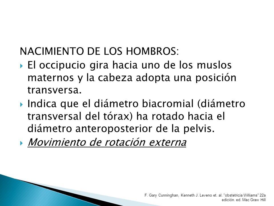 NACIMIENTO DE LOS HOMBROS: El occipucio gira hacia uno de los muslos maternos y la cabeza adopta una posición transversa. Indica que el diámetro biacr