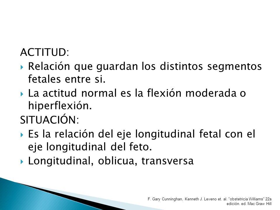 ACTITUD: Relación que guardan los distintos segmentos fetales entre si. La actitud normal es la flexión moderada o hiperflexión. SITUACIÓN: Es la rela