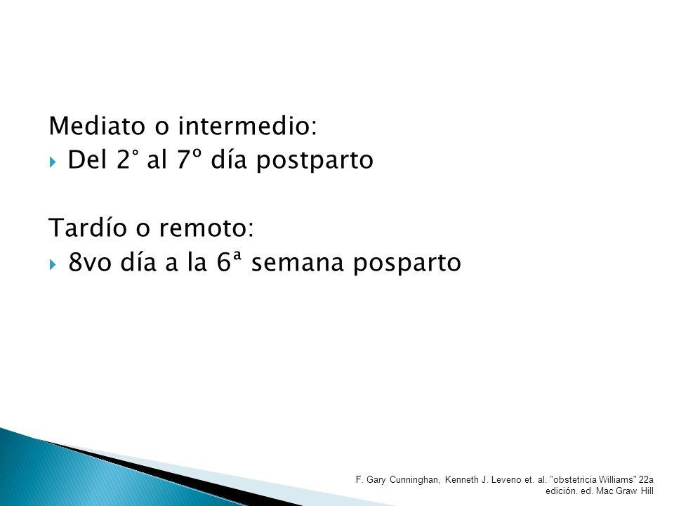 Mediato o intermedio: Del 2° al 7º día postparto Tardío o remoto: 8vo día a la 6ª semana posparto F. Gary Cunninghan, Kenneth J. Leveno et. al.