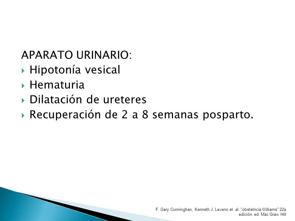 APARATO URINARIO: Hipotonía vesical Hematuria Dilatación de ureteres Recuperación de 2 a 8 semanas posparto. F. Gary Cunninghan, Kenneth J. Leveno et.