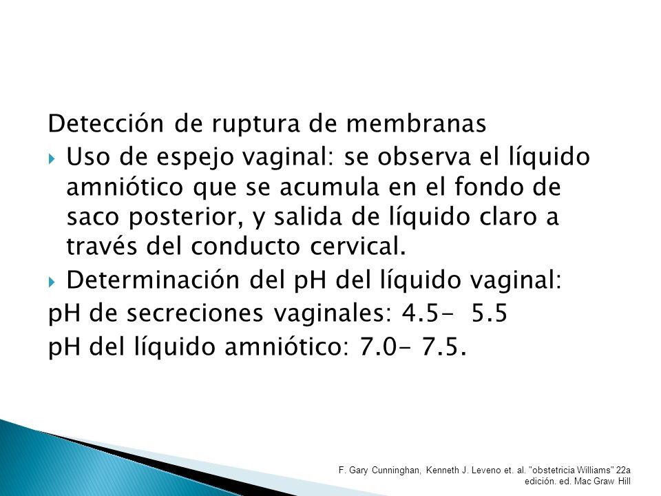 pH > 6.5 es compatible con ruptura de membranas Ramificación o cristalización en helecho del líquido vaginal sugiere la presencia de líquido amniótico.