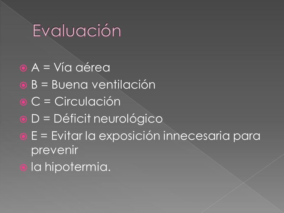 A = Vía aérea B = Buena ventilación C = Circulación D = Déficit neurológico E = Evitar la exposición innecesaria para prevenir la hipotermia.