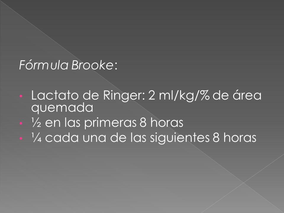 Fórmula Brooke: Lactato de Ringer: 2 ml/kg/% de área quemada ½ en las primeras 8 horas ¼ cada una de las siguientes 8 horas