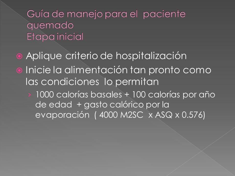 Aplique criterio de hospitalización Inicie la alimentación tan pronto como las condiciones lo permitan 1000 calorías basales + 100 calorías por año de