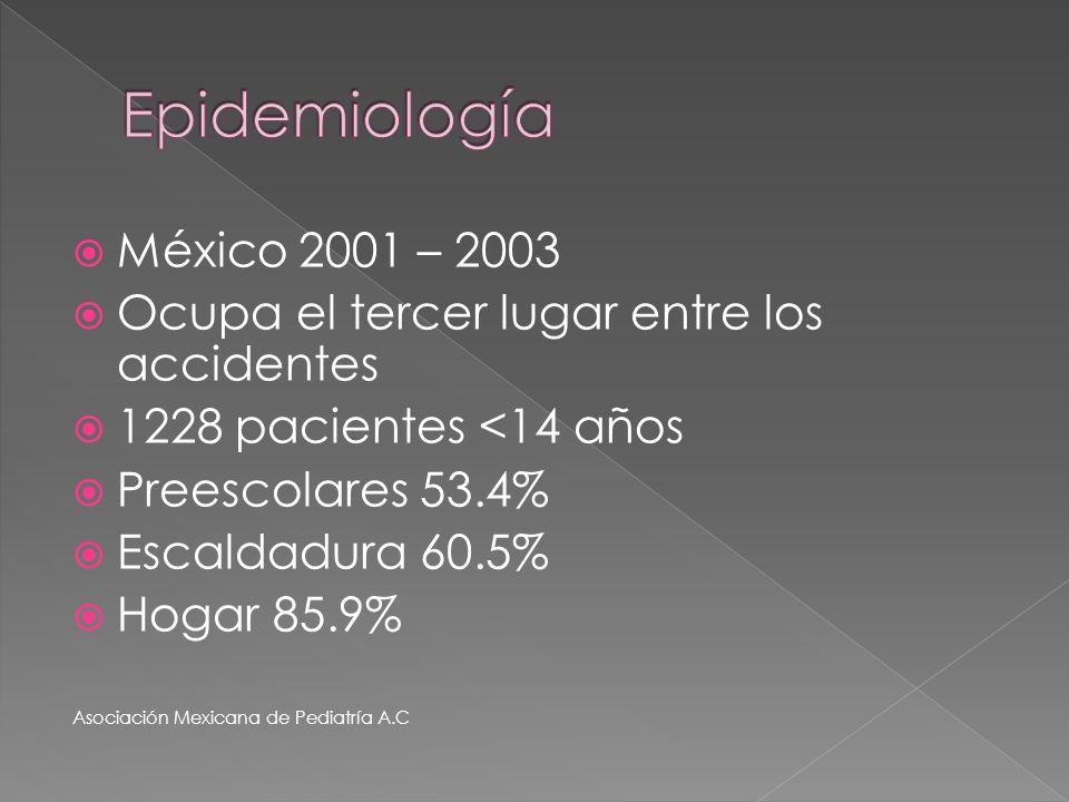 México 2001 – 2003 Ocupa el tercer lugar entre los accidentes 1228 pacientes <14 años Preescolares 53.4% Escaldadura 60.5% Hogar 85.9% Asociación Mexi