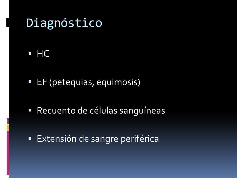 Diagnóstico HC EF (petequias, equimosis) Recuento de células sanguíneas Extensión de sangre periférica