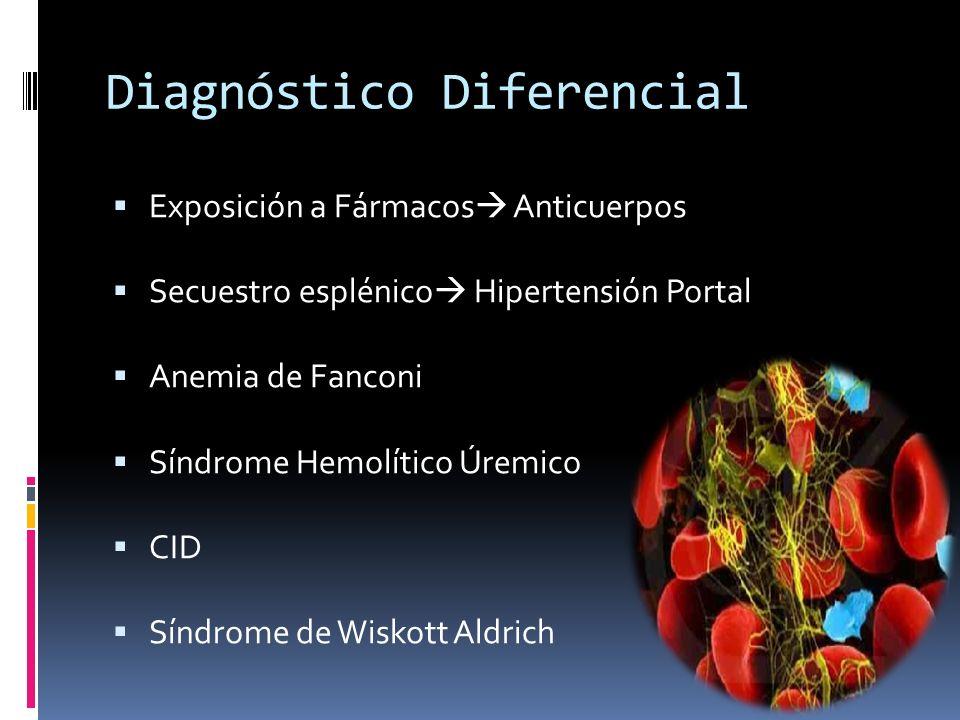 Diagnóstico Diferencial Exposición a Fármacos Anticuerpos Secuestro esplénico Hipertensión Portal Anemia de Fanconi Síndrome Hemolítico Úremico CID Sí