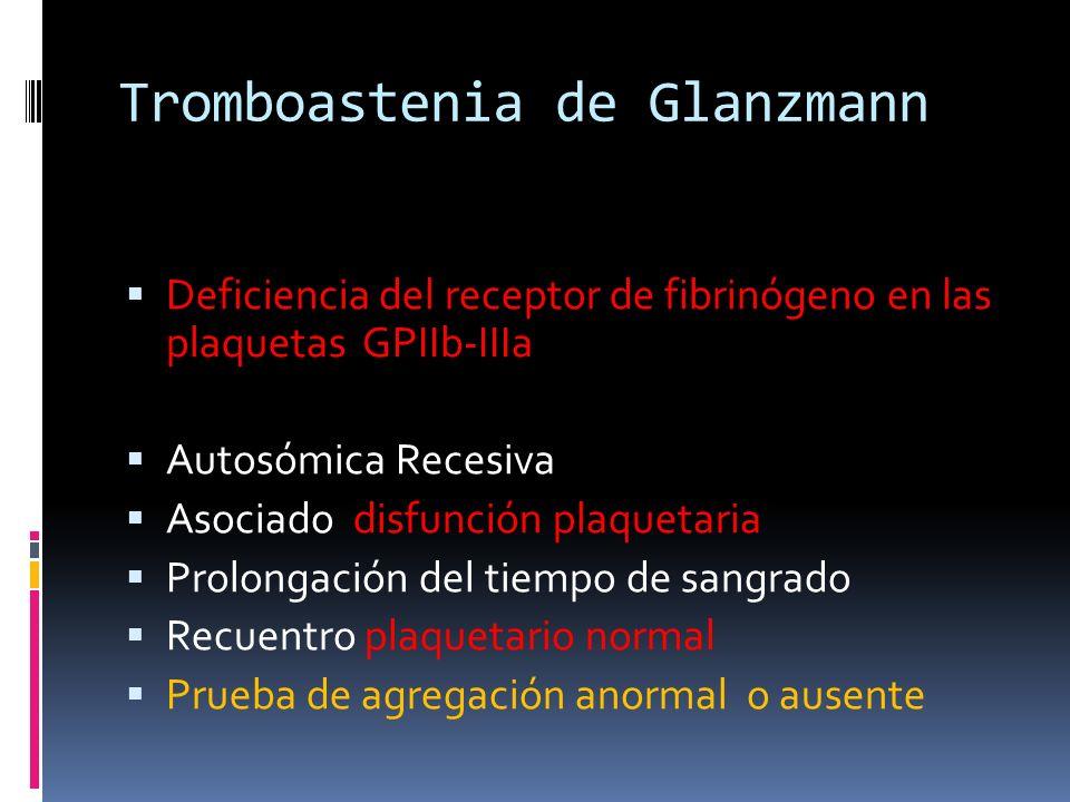 Tromboastenia de Glanzmann Deficiencia del receptor de fibrinógeno en las plaquetas GPIIb-IIIa Autosómica Recesiva Asociado disfunción plaquetaria Pro