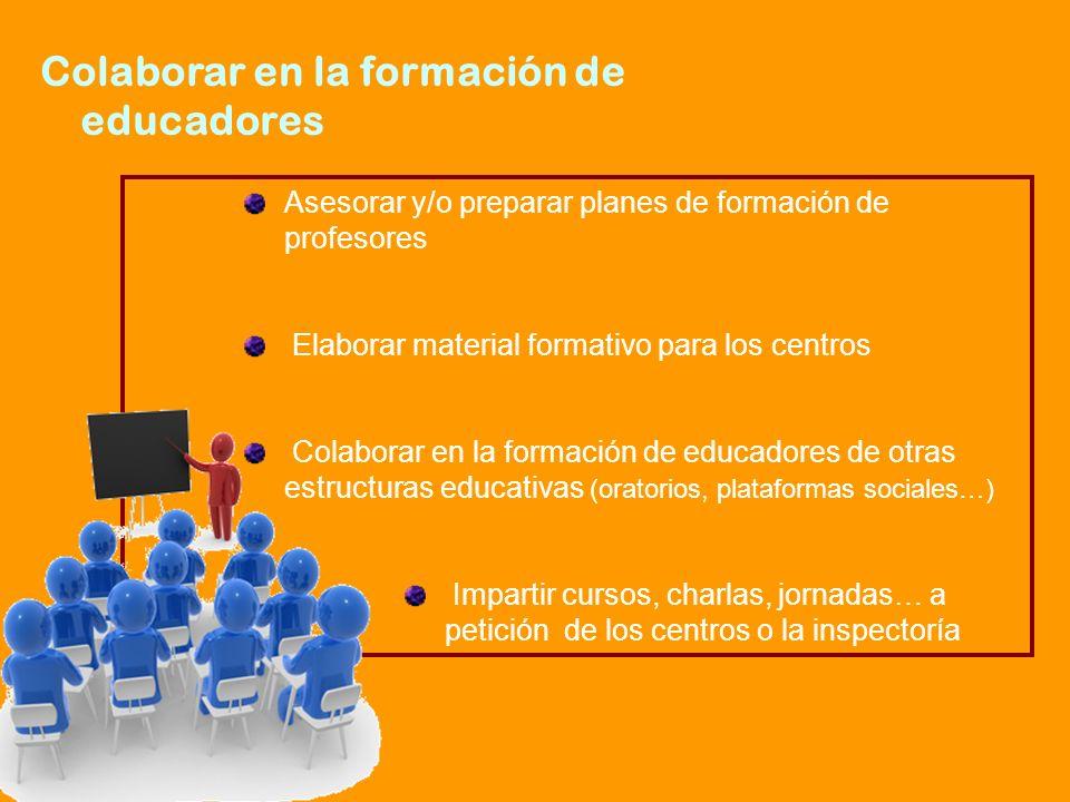 Asesorar y/o preparar planes de formación de profesores Elaborar material formativo para los centros Colaborar en la formación de educadores de otras