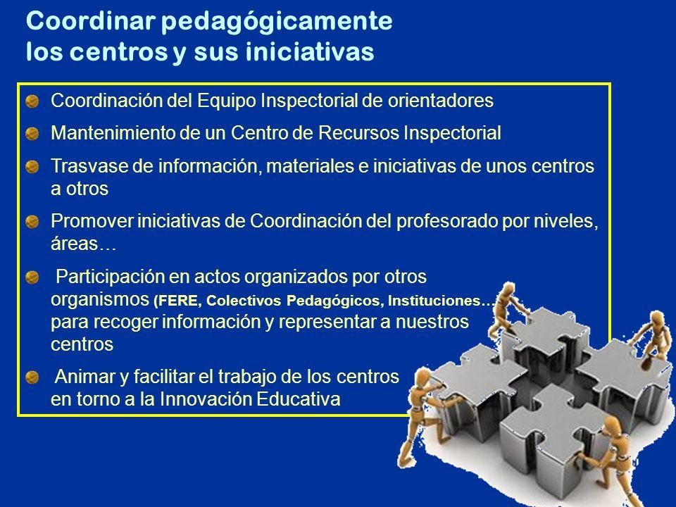 Coordinación del Equipo Inspectorial de orientadores Mantenimiento de un Centro de Recursos Inspectorial Trasvase de información, materiales e iniciat