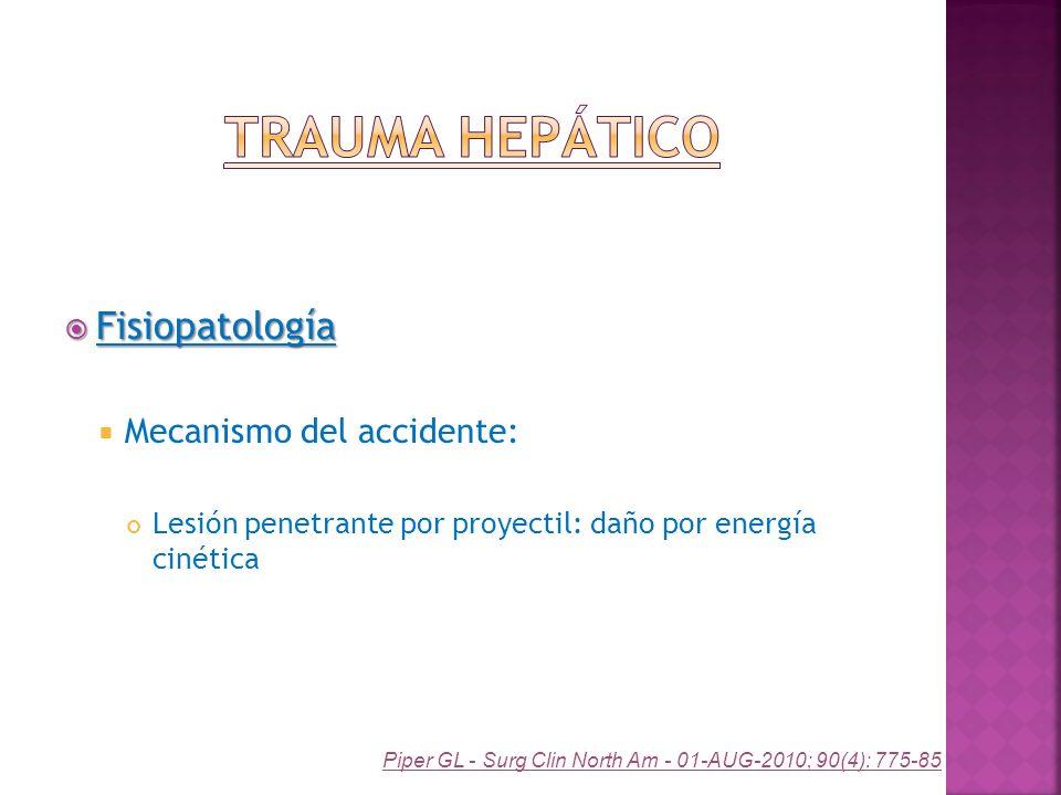 Fisiopatología Fisiopatología Mecanismo del accidente: Lesión penetrante por proyectil: daño por energía cinética Piper GL - Surg Clin North Am - 01-A