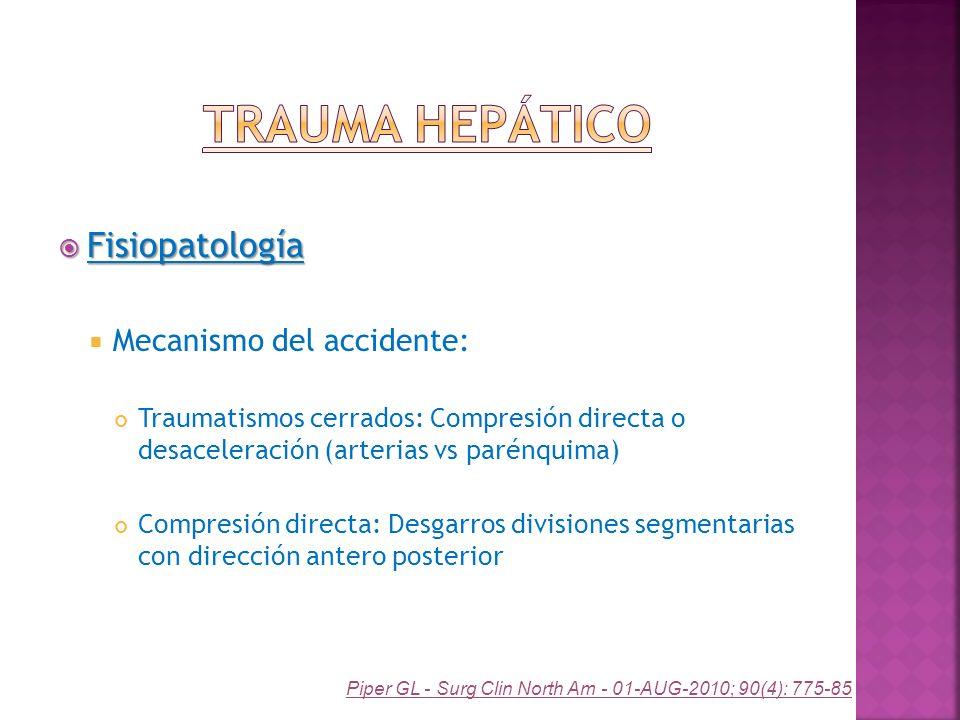 Fisiopatología Fisiopatología Mecanismo del accidente: Traumatismos cerrados: Compresión directa o desaceleración (arterias vs parénquima) Compresión