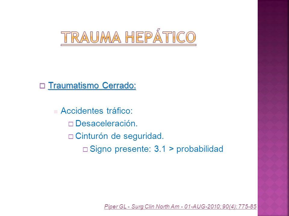 Traumatismo Cerrado: Traumatismo Cerrado: Accidentes tráfico: Desaceleración. Cinturón de seguridad. Signo presente: 3.1 > probabilidad Piper GL - Sur