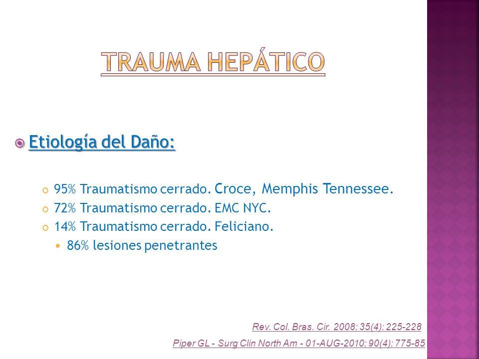 Etiología del Daño: Etiología del Daño: 95% Traumatismo cerrado. Croce, Memphis Tennessee. 72% Traumatismo cerrado. EMC NYC. 14% Traumatismo cerrado.