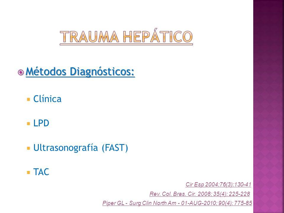 Métodos Diagnósticos: Métodos Diagnósticos: Clínica LPD Ultrasonografía (FAST) TAC Cir Esp 2004;76(3):130-41 Piper GL - Surg Clin North Am - 01-AUG-20