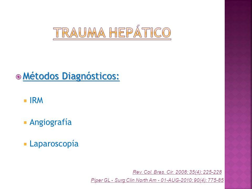 Métodos Diagnósticos: Métodos Diagnósticos: IRM Angiografía Laparoscopía Piper GL - Surg Clin North Am - 01-AUG-2010; 90(4): 775-85 Rev. Col. Bras. Ci