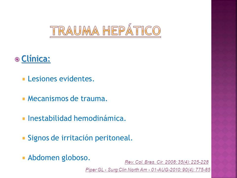 Clínica: Clínica: Lesiones evidentes. Mecanismos de trauma. Inestabilidad hemodinámica. Signos de irritación peritoneal. Abdomen globoso. Rev. Col. Br