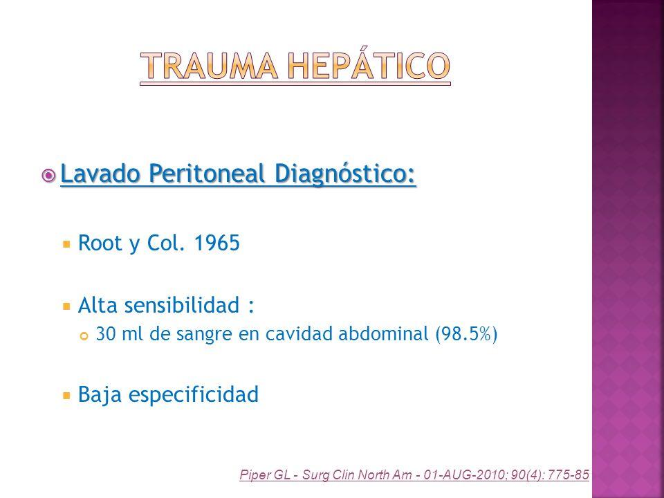 Lavado Peritoneal Diagnóstico: Lavado Peritoneal Diagnóstico: Root y Col. 1965 Alta sensibilidad : 30 ml de sangre en cavidad abdominal (98.5%) Baja e