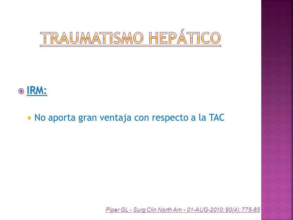 IRM: IRM: No aporta gran ventaja con respecto a la TAC Piper GL - Surg Clin North Am - 01-AUG-2010; 90(4): 775-85