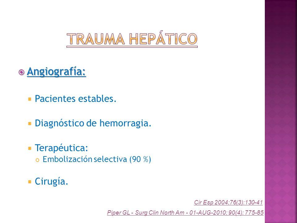 Angiografía: Angiografía: Pacientes estables. Diagnóstico de hemorragia. Terapéutica: Embolización selectiva (90 %) Cirugía. Piper GL - Surg Clin Nort