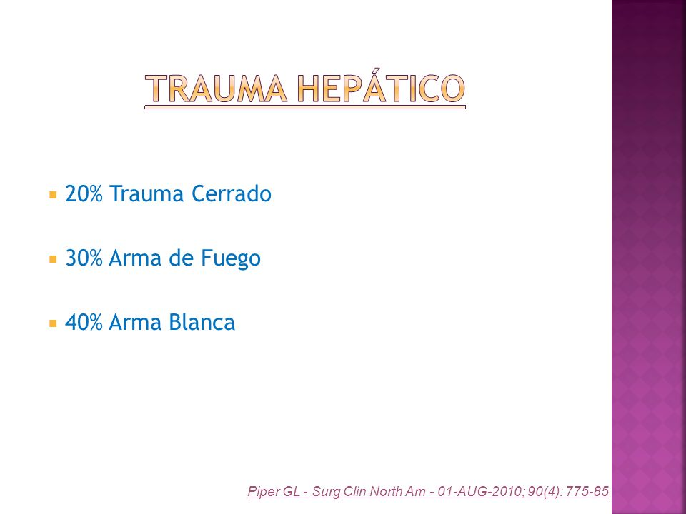 20% Trauma Cerrado 30% Arma de Fuego 40% Arma Blanca Piper GL - Surg Clin North Am - 01-AUG-2010; 90(4): 775-85
