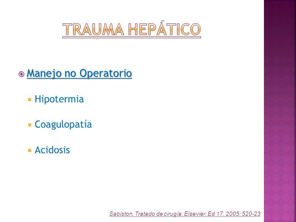 Manejo no Operatorio Manejo no Operatorio Hipotermia Coagulopatía Acidosis Sabiston. Tratado de cirugía, Elsevier. Ed 17, 2005: 520-23