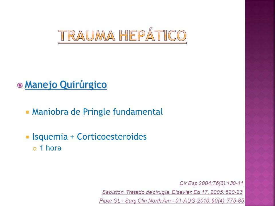 Manejo Quirúrgico Manejo Quirúrgico Maniobra de Pringle fundamental Isquemia + Corticoesteroides 1 hora Piper GL - Surg Clin North Am - 01-AUG-2010; 9