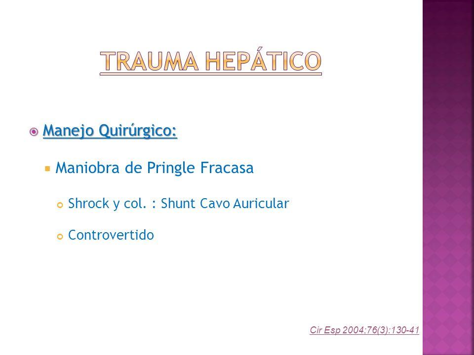 Manejo Quirúrgico: Manejo Quirúrgico: Maniobra de Pringle Fracasa Shrock y col. : Shunt Cavo Auricular Controvertido Cir Esp 2004;76(3):130-41