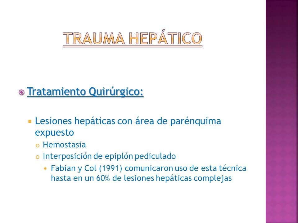 Tratamiento Quirúrgico: Tratamiento Quirúrgico: Lesiones hepáticas con área de parénquima expuesto Hemostasia Interposición de epiplón pediculado Fabi