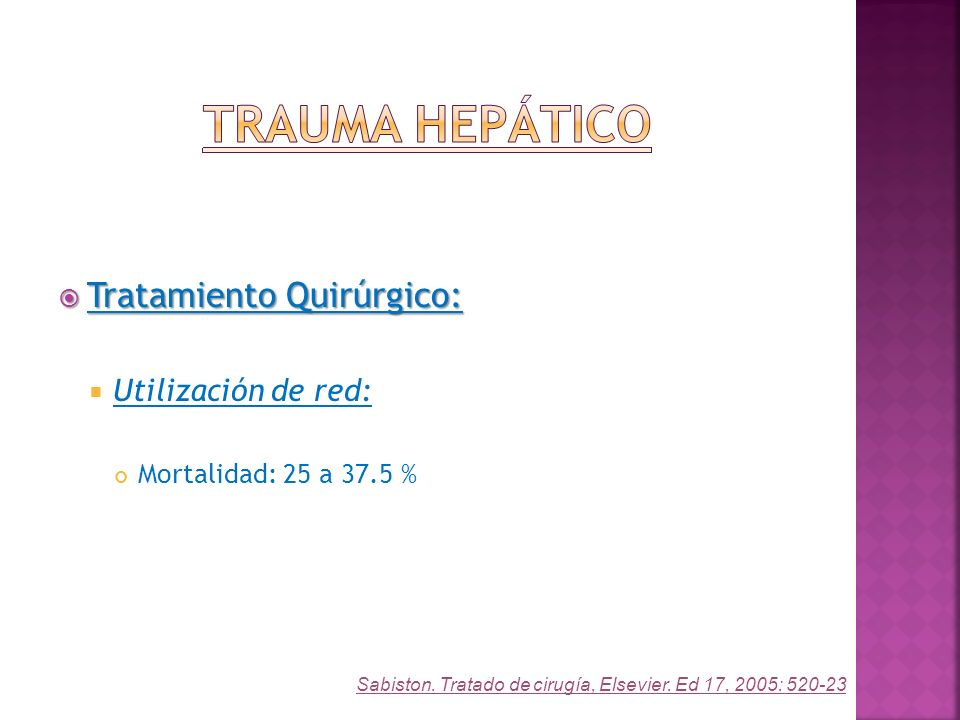 Tratamiento Quirúrgico: Tratamiento Quirúrgico: Utilización de red: Mortalidad: 25 a 37.5 % Sabiston. Tratado de cirugía, Elsevier. Ed 17, 2005: 520-2