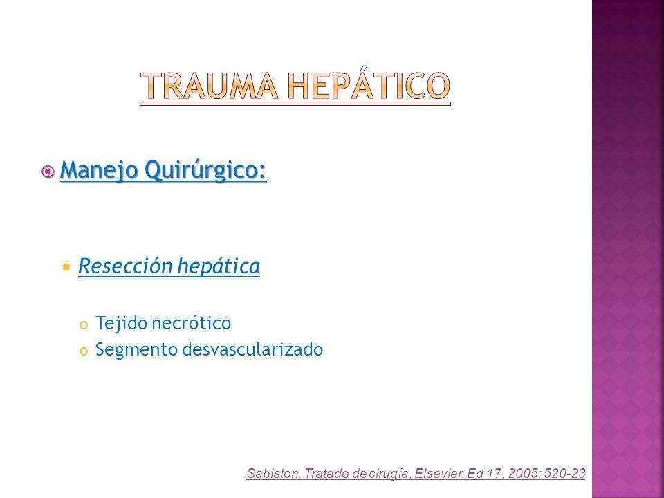 Manejo Quirúrgico: Manejo Quirúrgico: Resección hepática Tejido necrótico Segmento desvascularizado Sabiston. Tratado de cirugía, Elsevier. Ed 17, 200