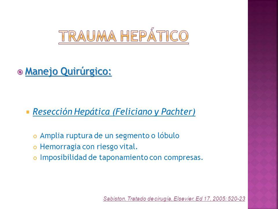 Manejo Quirúrgico: Manejo Quirúrgico: Resección Hepática (Feliciano y Pachter) Amplia ruptura de un segmento o lóbulo Hemorragia con riesgo vital. Imp