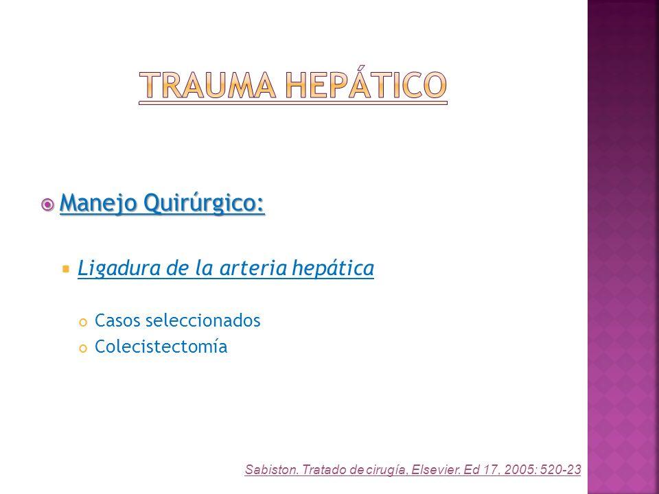 Manejo Quirúrgico: Manejo Quirúrgico: Ligadura de la arteria hepática Casos seleccionados Colecistectomía Sabiston. Tratado de cirugía, Elsevier. Ed 1