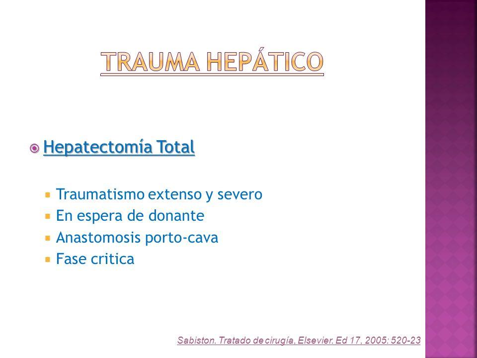 Hepatectomía Total Hepatectomía Total Traumatismo extenso y severo En espera de donante Anastomosis porto-cava Fase critica Sabiston. Tratado de cirug