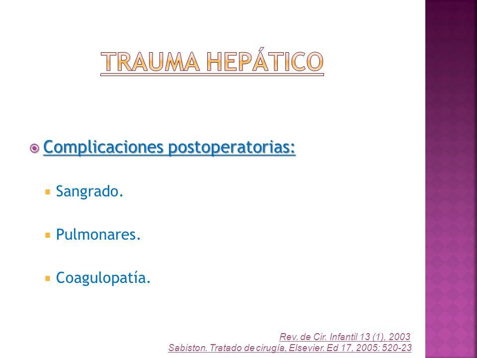 Complicaciones postoperatorias: Complicaciones postoperatorias: Sangrado. Pulmonares. Coagulopatía. Rev. de Cir. Infantil 13 (1), 2003 Sabiston. Trata