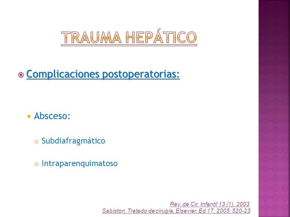 Complicaciones postoperatorias: Complicaciones postoperatorias: Absceso: Subdiafragmático Intraparenquimatoso Rev. de Cir. Infantil 13 (1), 2003 Sabis