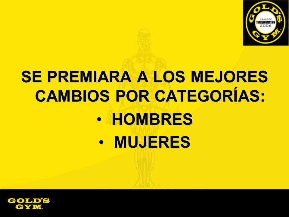 SE PREMIARA A LOS MEJORES CAMBIOS POR CATEGORÍAS: HOMBRES HOMBRES MUJERES MUJERES