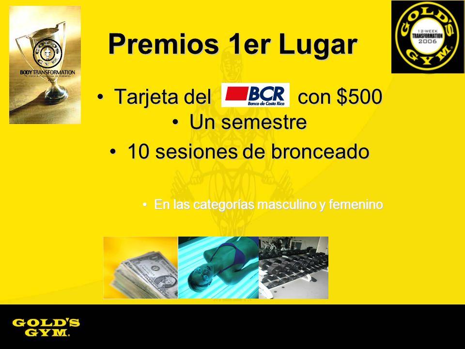 Premios 1er Lugar Tarjeta del con $500Tarjeta del con $500 Un semestreUn semestre 10 sesiones de bronceado10 sesiones de bronceado En las categorías m
