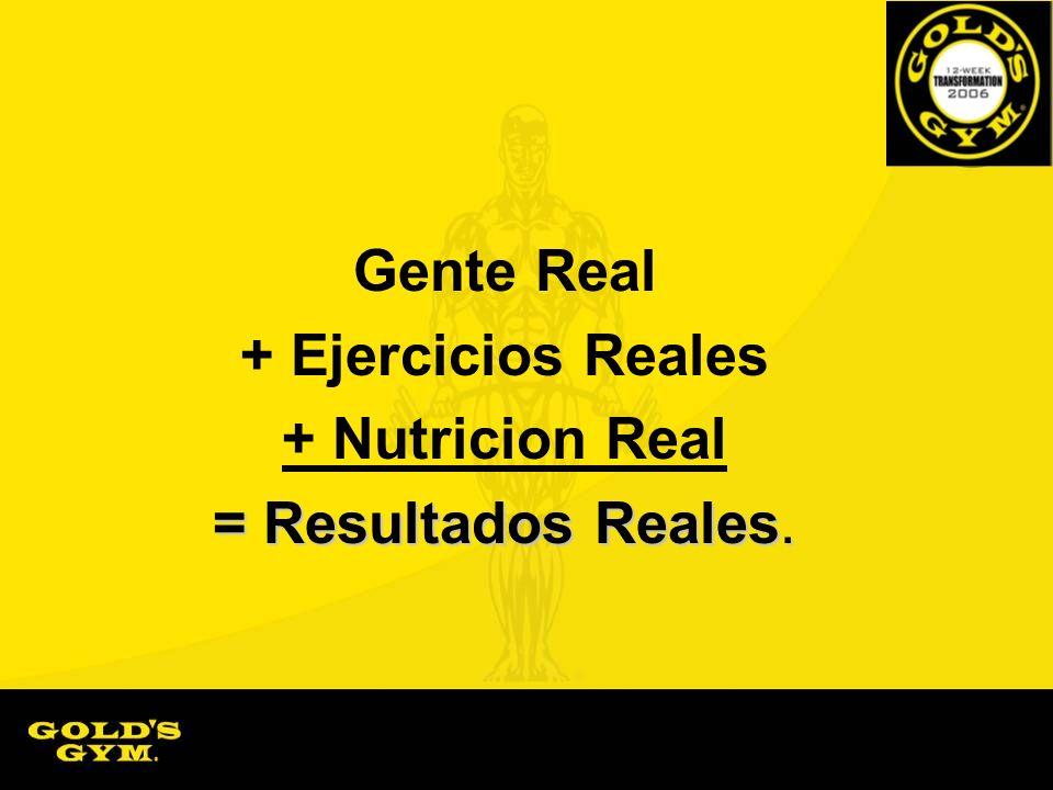 Gente Real + Ejercicios Reales + Nutricion Real = Resultados Reales.