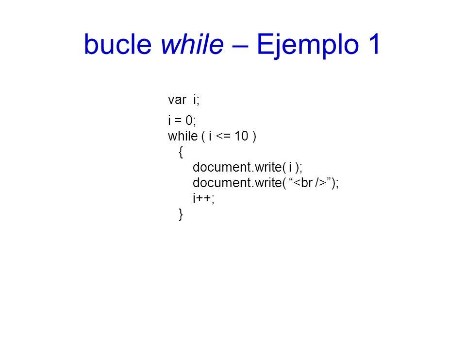 bucle while – Ejemplo 2 var num; var esPositivo; esPositivo = false; while (esPositivo == false) { num = prompt(Número positivo:,); if (num > 0) { esPositivo = true; } }
