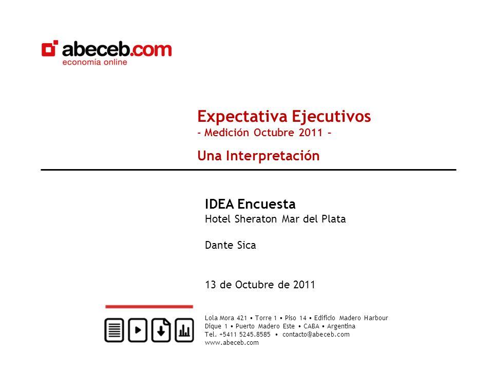 Expectativa Ejecutivos - Medición Octubre 2011 – Una Interpretación IDEA Encuesta Hotel Sheraton Mar del Plata Dante Sica 13 de Octubre de 2011 Lola M