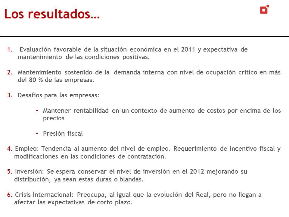 1. Evaluación favorable de la situación económica en el 2011 y expectativa de mantenimiento de las condiciones positivas. 2.Mantenimiento sostenido de