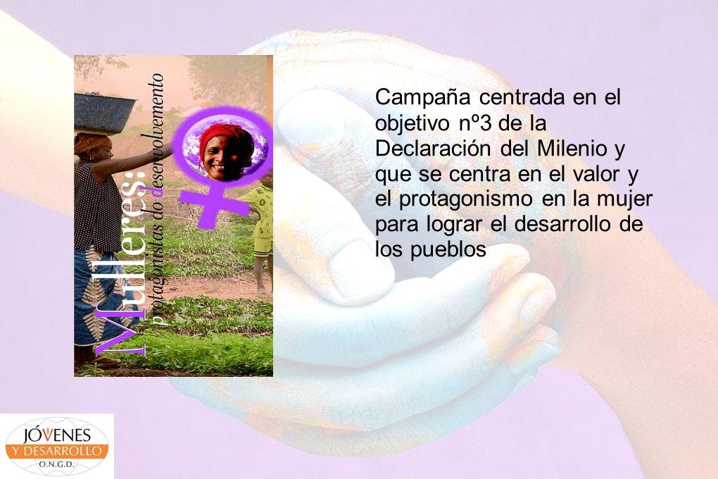 Campaña centrada en el objetivo nº3 de la Declaración del Milenio y que se centra en el valor y el protagonismo en la mujer para lograr el desarrollo