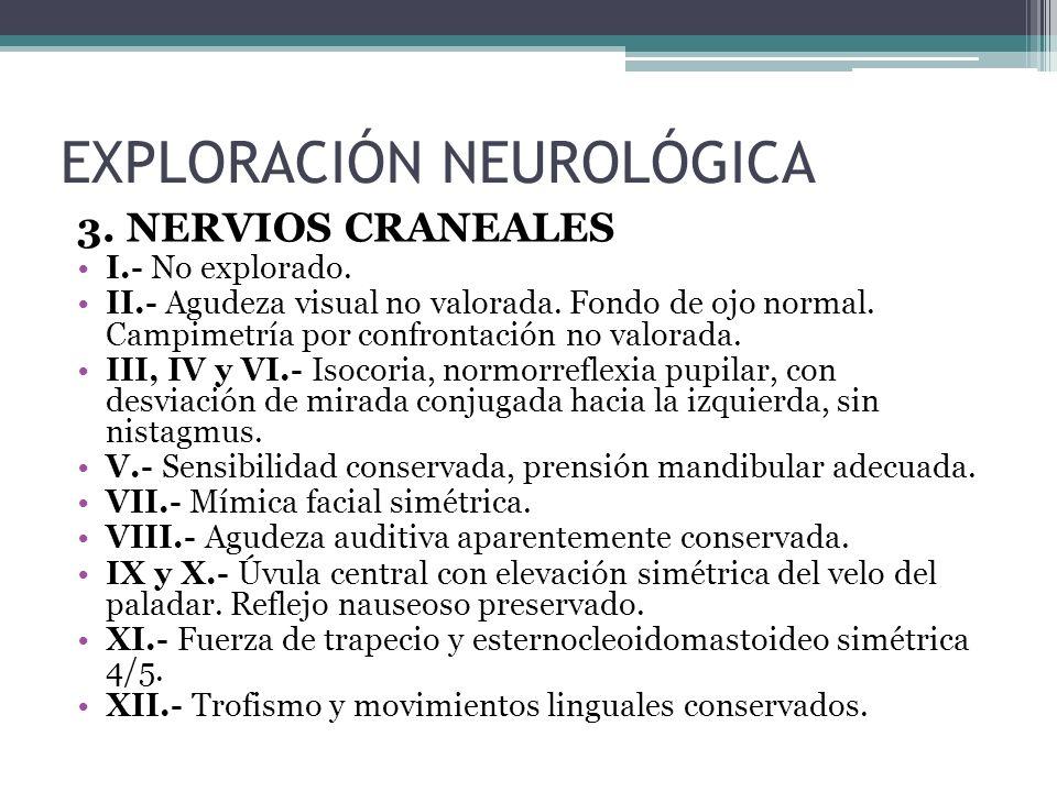 3. NERVIOS CRANEALES I.- No explorado. II.- Agudeza visual no valorada. Fondo de ojo normal. Campimetría por confrontación no valorada. III, IV y VI.-